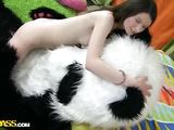 Tight teen beauty hard strapon fucked by big panda