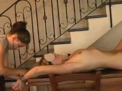Lusty busty MILF treated with hot wax and cold ice