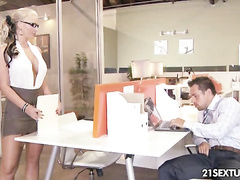 Blonde business whore fucks a hot stud in office
