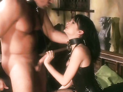 Sub beauty in collar dominated with big hard dick