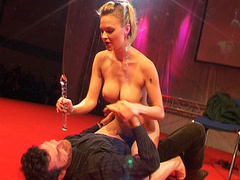 Nasty horny bitch drills her pussy with glass dildo