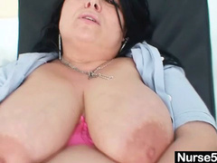 Horny amateur cougar teasing pussy and tits at gyno