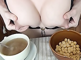 Lactating breakfast with breast milk and cereals