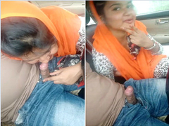 Indian Girl Sucking lover Dick On Car