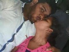 desi couple kissing & blowjob in Car