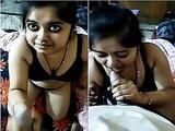 Today Exclusive- Super Hot look Desi Bhabhi Blowjob