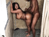 My step bother fuck BBW black stripper in the shower