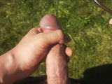 The nasty beauty masturbates her cute pink pussy and squirts in the yard