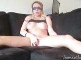 Blindfolded Samantha Flair cums hard twice