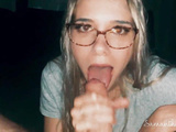 Samantha Flair swallows stepdad's cum in glasses