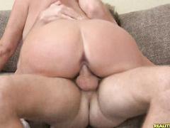 Gorgeous babe Karen rides huge cock till orgasming