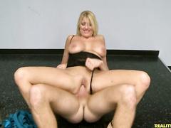 Horny blonde mommy rides big hard cock till orgasm