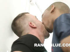Kinky gay dudes enjoy perverted interracial oral
