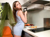 Cute teen babe goes very naughty in the kitchen