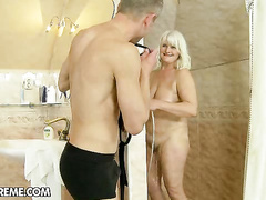 Horny mature lady seduced by kinky hot youngster