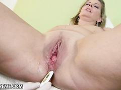 Kinky doc examines tight mature pussy till cumming