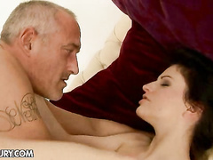 Young bitch screwed tight and deep on mature cock